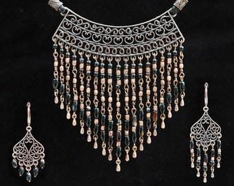 Black onyx jewelry set Antique copper multi strand necklace Gemstone earrings Boho gypsy jewellery Wedding gift Collier Long onyx necklace
