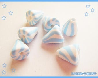 7 beads charms fimo blue and white stuffed - pastel