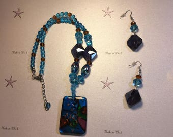 Blue Glass and Gems Set