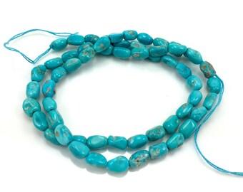 Natural Sleeping Beauty American Turquoise Nugget Bead Semi-Precious Stone Blue Gemstone Jewelry Making Supplies DIY Beading Sundance Style