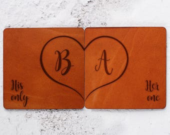 Anniversary gift, Her one His only, Leather coasters personalised, Gifts for him ideas, Leather anniversary, Leather gifts, Wedding coasters