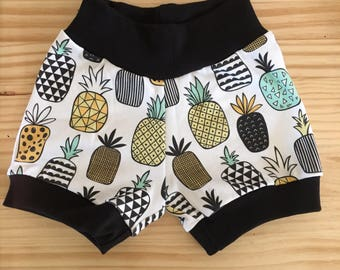 Pineapple Shorts, Toddler shorts, baby girl shorts, baby boy shirts, pineapple, tropical, shorties, organic baby, baby clothes, fruit