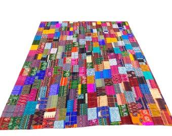 Patch Work Design Indigo Handmade Kantha Throw Bedspread Reversible Vintage Quilt