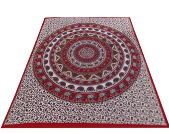 Hand Block Printed Mandala Design Cotton Double Bed Sheet in Red Color Size 90x108 Inch