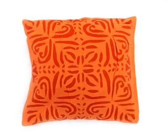 "Indian Pure Cotton Cushion Cover Home Cut Work Decorative Orange Color Size 17x17"""