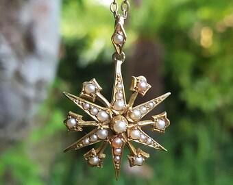 Antique Victorian Edwardian 15ct Yellow Gold Split Pearl Starburst Pendant Necklace