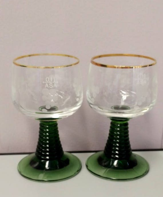 Vintage Roemer Clear etched glass wine goblets with green stem
