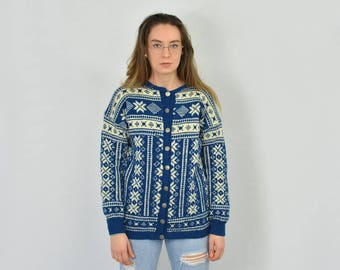 Norwegian sweater Fair Isle Nordic cardigan Vintage Blue patterned snowflakes highlander Geometric Ski women M/L