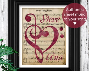 Custom Sheet Music Art | Valentines Day Gift For Her | Romantic Gift for girlfriend | Personalized Gift For Wife | Womens Gift for Women