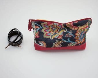 Clutch & Evening Bag. Convertible handbag in pouch. Red leather, upholstery and yellow cotton.