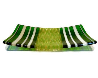 "Fused Glass 5.5"" x 11.5"" Rectangular Plate - Green, White and Yellow with Zig Zag Pattern Center Accents"