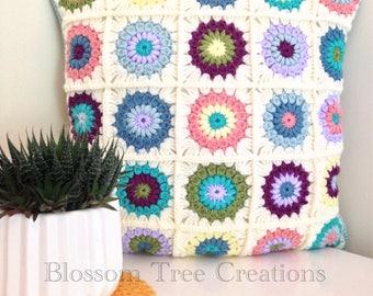AVAILABLE NOW Sunburst crochet granny square cushion
