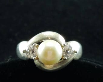 ON SALE Pearl, Sterling Silver & CZ Ring - Size 5