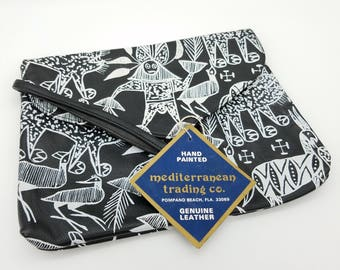 Vintage Mediterranean Training Co. Hand Painted Black & White Leather Wristlet, Made in India