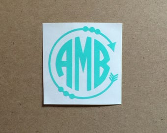 Arrow Monogram Decal | Arrow Decal | Circle Monogram | Monogram Sticker | Car Decal | Laptop Decal | Tumbler Decal | Personalized Decal