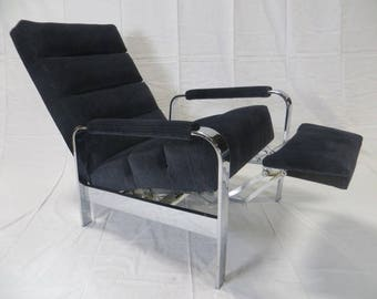Ca. 1950s Milo Baughman Chrome Recliner Re-Upholstered in Heavy Duty Cotton and Wool Striated VelVet