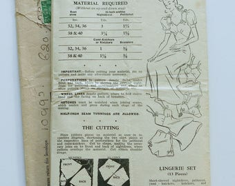 1940s Lingerie Pattern Bra Knickers Camiknickers Nightgown
