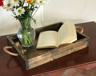 Rustic / Reclaimed style handmade wood serving tray with rope handles