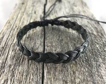 Black Cotton and Leather Bracelet / Anklet Wristband / Mens Womens Kids / Surf Beach Wear / His Her Gift / Adjustable Friendship Bracelet