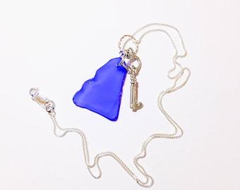 Cobalt Blue Sea Glass Sterling Silver Necklace Sterling Silver Skeleton Key Charm