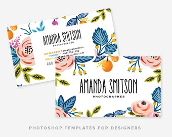 Business Card Template | Business Card Watercolor & Flowers Template | Business Card Design | Digital Photoshop Template | INSTANT DOWNLOAD