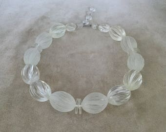 1950's Clear & Frosted Lucite Necklace