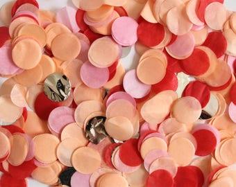 "Tissue Paper Confetti - Peach, Poppy, Pink, and Silver - metallic confetti - balloon 1"" round circular valentine galentine's brunch circle"