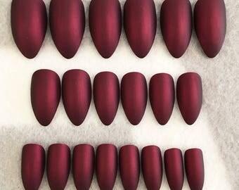 Burgundy Fake Nails * Faux Nails * Glue On Nails * Burgundy Nails * Red Nails * Metallic Nails *  Stiletto Nails * Gloss Nails * Matte Nails