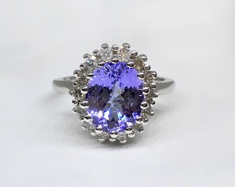 14k White Gold Natural Tanzanite (3.00o ct) Natural Diamond Ring, Appraised 11,400 CAD