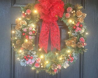Lighted christmas wreaths for front door lighted christmas large christmas wreaths for front door large lighted christmas wreath christmas wreath with lights mozeypictures Gallery