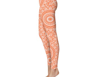 Coral Yoga Leggings - Coral Leggings, Orange and White Printed Leggings, Mandala Art Tights, Coral Stretch Pants