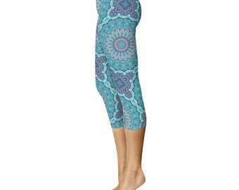 Capris Leggings Blue Funky and Fun - Yoga Pants, Yoga Leggings, Mandala Art Leggings