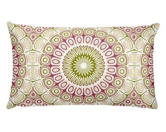 Throw Pillows Pink and Green Rectangle Cushion, Home Decor Pillows, 20x12 Lumbar Pillow