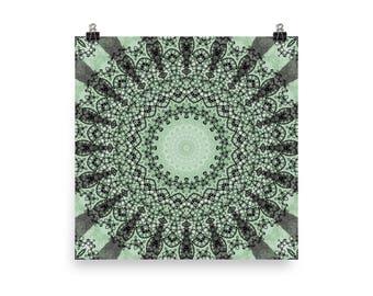 Green Wall Art, Abstract Green Mandala Art, Home Decor in Green, Prints