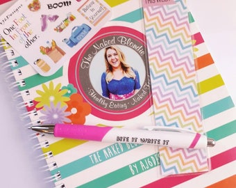 AJ6D400, The Naked Blondie Meal Planner. 12 Week Planner & Pen + Freebie + Bookmark. Food, Fitness, Meal Prep, Recipes.
