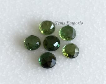 ON SALE Green Tourmaline 5 mm Rose Cut Round Cabochons. African Origin. Good Color and Luster. Price per piece.