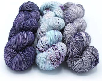 PREORDER Free Your Fade Kit - Hydrangea - 75/25 Sock - Hand Dyed Yarn Sock Merino Wool - Hand Painted - Fingering Weight - Tonal Speckled