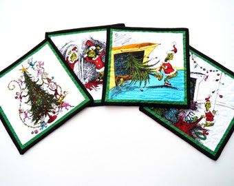 Grinch Mini Quilt Set of Four, Oversize Coasters, Christmas Table Decor