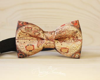 old map journey bow tie - bowtie