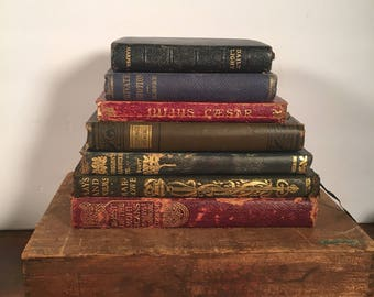 Antique Book Stack - Small to Smaller, Set of Seven (7) Little Vintage Books, Decoratively Bound Leather Books