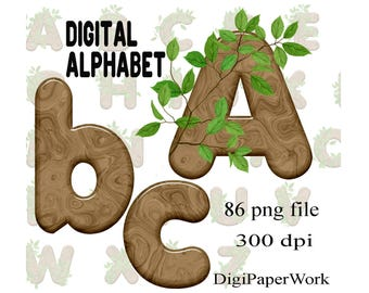 Digital alphabet tree branch alphabet clipart Monogram Scrapbooking Elements for Personal and Commercial Use