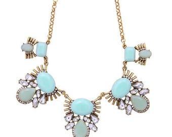 ON SALE Statement Necklace / Gold Mint Statement Necklace / Pendant Necklace / Crystal Statement Necklace / Wedding Necklace / Fashion