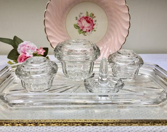 An Exquisite Art Deco Vintage Pressed Glass Dressing Table Set, Vanity Set