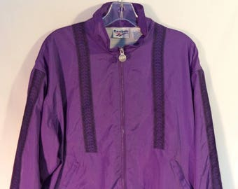 80s Reebok vintage windbreaker// Retro athletic purple and black bat wing arms jacket// Women unisex size M medium