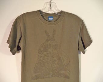 Vintage Darth Vader bunny ears t shirt// 90s Star Wars army green faded grunge tee// Women's size XS and small