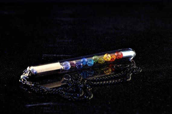 Rainbow / Chakra Swarovski Crystal Pixie Electrode Pendant - Charm System ™Bdsm Toy Dominant Sadist attachment kink kinky