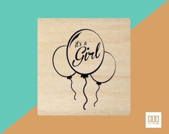 Girl Balloons - 6cm Rubber Stamp (DODRS0013)
