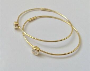 Gold Plated on Sterling Silver Hoop Earrings, Thin Hoop Earrings, Medium Hoop Earrings, Minimalist Everyday Earrings.