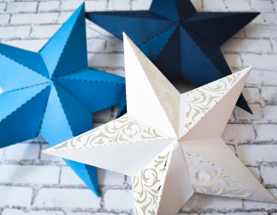3d paper star printable template svg star cut files dxf for Paper star cut out template