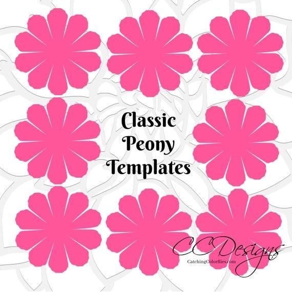 Paper flower printable templates- DIY Peony paper flowers- PDF ...